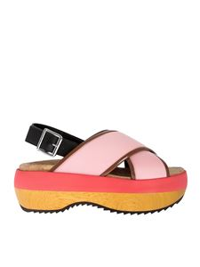 Marni - Wedge sandals in pink technical fabric