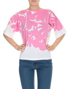 Marni - Floral oversize T-shirt in white and pink