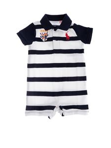 Ralph Lauren - Cotton mesh polo shortall in blue and white