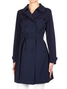 Herno - Double-breasted trench coat in dark blue