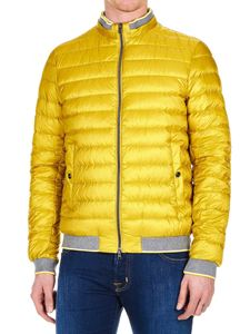 Herno - Down jacket in yellow with gray knitted edges