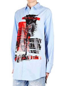 Dsquared2 - Printed oversized shirt in light blue