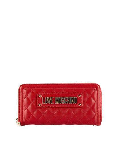8a134604b6 Love Moschino Spring Summer 2019 quilted soft wallet in red ...