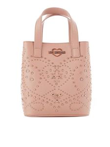Love Moschino - Bucket bag with studs in antique pink