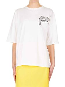 Pinko - White cotton T-shirt with P logo