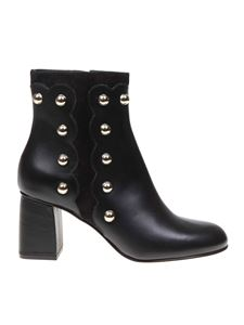 Red Valentino - Black ankle boots with golden studs