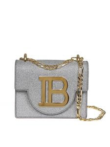 Balmain - B-bag 18 shoulder bag in silver leather