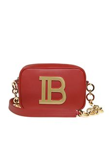 Balmain - B-Camera Shoulder Case bag in burgundy leather