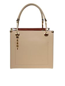 Marni - Squared Snap Link Grip bag in beige and white