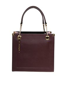 Marni - Squared Snap Link Grip bag in burgundy and pink