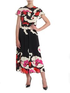 Red Valentino - Floral long dress in black