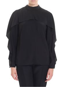 Red Valentino - Black blouse with bow and ruffles