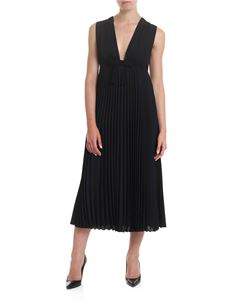 Red Valentino - Pleated georgette dress in black