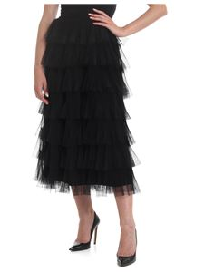 Red Valentino - Tulle point d'esprit skirt in black with flounces