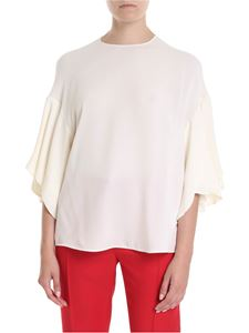 Valentino - Crewneck blouse in pure ivory silk
