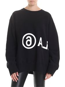 MM6 by Maison Martin Margiela - MARGIELA6 print sweatshirt in black