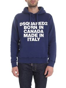 Dsquared2 - Hoodie in blue with lettering print