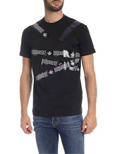 Dsquared2 - Black T-shirt with adhesive tape prints