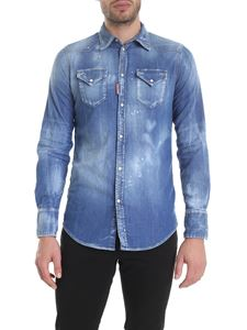 Dsquared2 - Camicia slim in denim azzurro