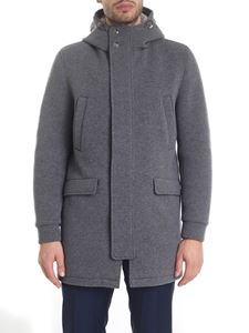 Herno - Resort long padded jacket in melange grey