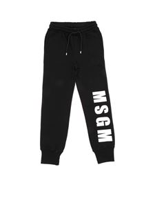 MSGM - Black sweatpants with lettering prints