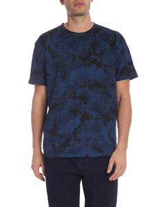 Valentino - VLTN Grid printed camouflage t-shirt in blue
