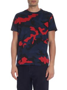 Valentino - Camouflage crew neck t-shirt in blue and red