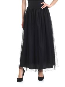 Red Valentino - Gonna in tulle point d'esprit nera