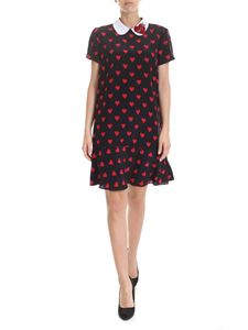 Red Valentino - Hearts printed dress in black with patch detail
