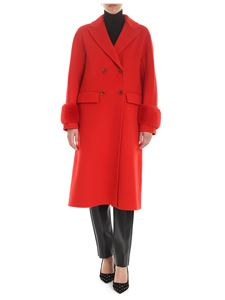 Ermanno Scervino - Red double-breasted coat with mink details