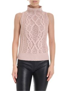 Ermanno Scervino - Pink sleeveless turtleneck with rhinestones
