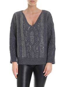 Ermanno Scervino - V-neck sweater in grey with applied rhinestones