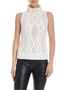 Ermanno Scervino - Sleeveless turtleneck in ivory color with rhinestones