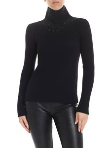 Ermanno Scervino - Wool turtleneck in black with applied rhinestones