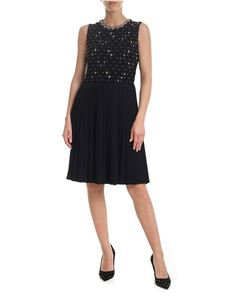 Red Valentino - Pleated dress in black with multicolor rhinestones