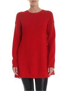 Valentino - Long sweater in red with lace back