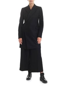 Y's Yohji Yamamoto - Y's Pink Coat in black with decentralized closure