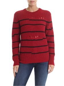 Iro - Red and black striped crewneck pullover