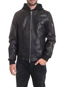 Dondup - Hooded bomber jacket in black genuine leather