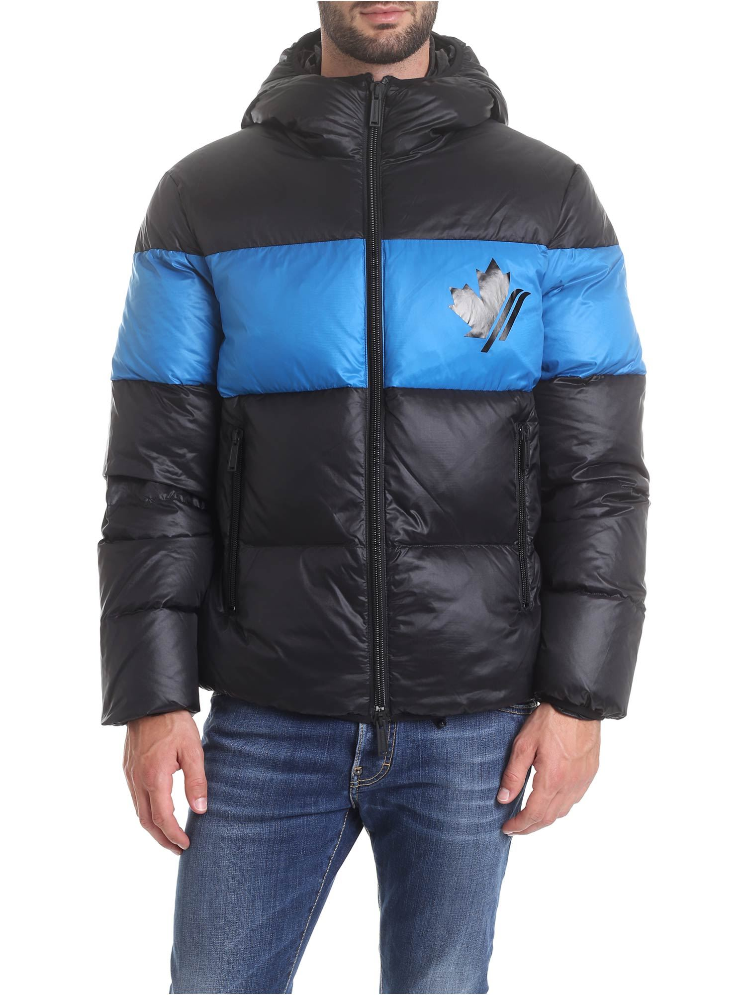 Dsquared2 Down Jacket With Hood In Black And Light Blue