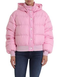 MSGM - Short down jacket in pink with MSGM hood