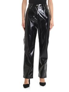 MSGM - 5 pockets trousers in black vinyl