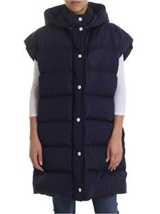 MSGM - Down jacket in blue with MSGM hood