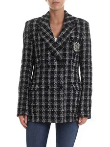 MSGM - Double-breasted jacket in black and white tweed