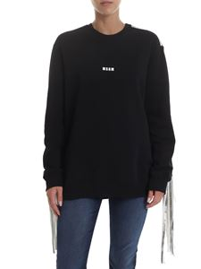 MSGM - Crewneck sweatshirt with silver fringes