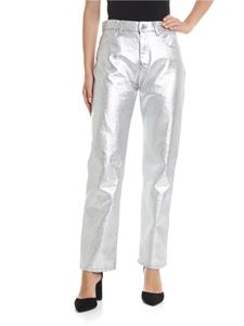 MSGM - Coated denim trousers in silver color