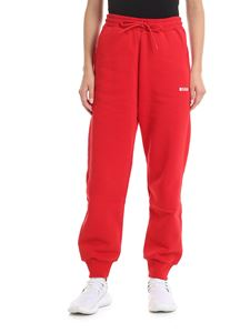 MSGM - Cotton jogging trousers in red