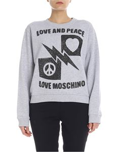 Love Moschino - LOVE AND PEACE sweatshirt in gray