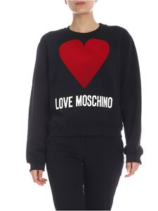 Love Moschino - LOVE MOSCHINO flock heart sweatshirt in black