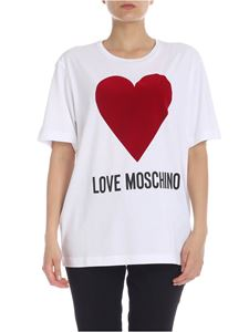 Love Moschino - T-shirt LOVE MOSCHINO flock heart in white